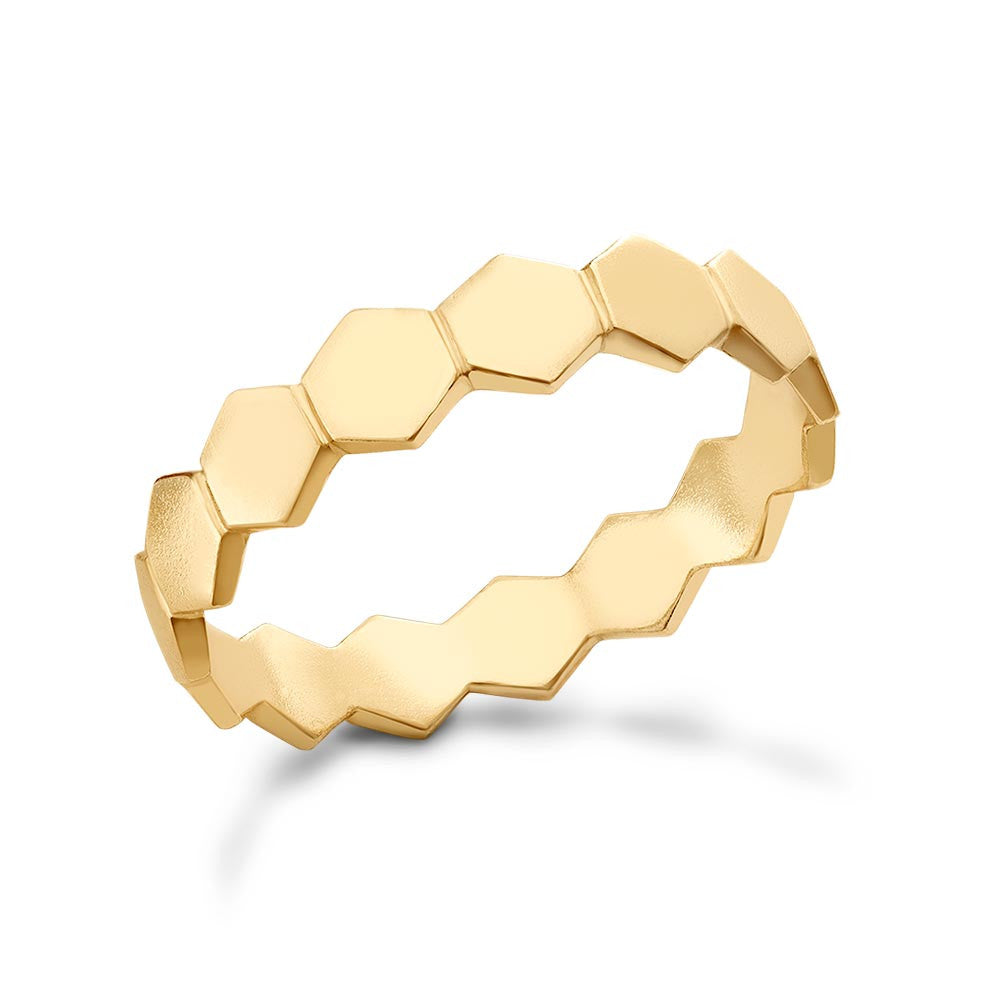 Anello Honeycomb Sovrapponibile in Oro (Design esagoni pieni)