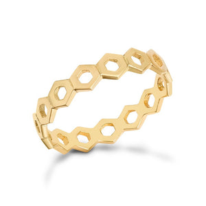 Gold Honeycomb Stacking Ring Hollow Design