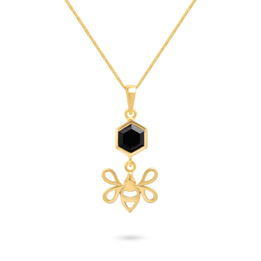 Gold Tiny Bee Charm with Faceted Black Onyx Pendant