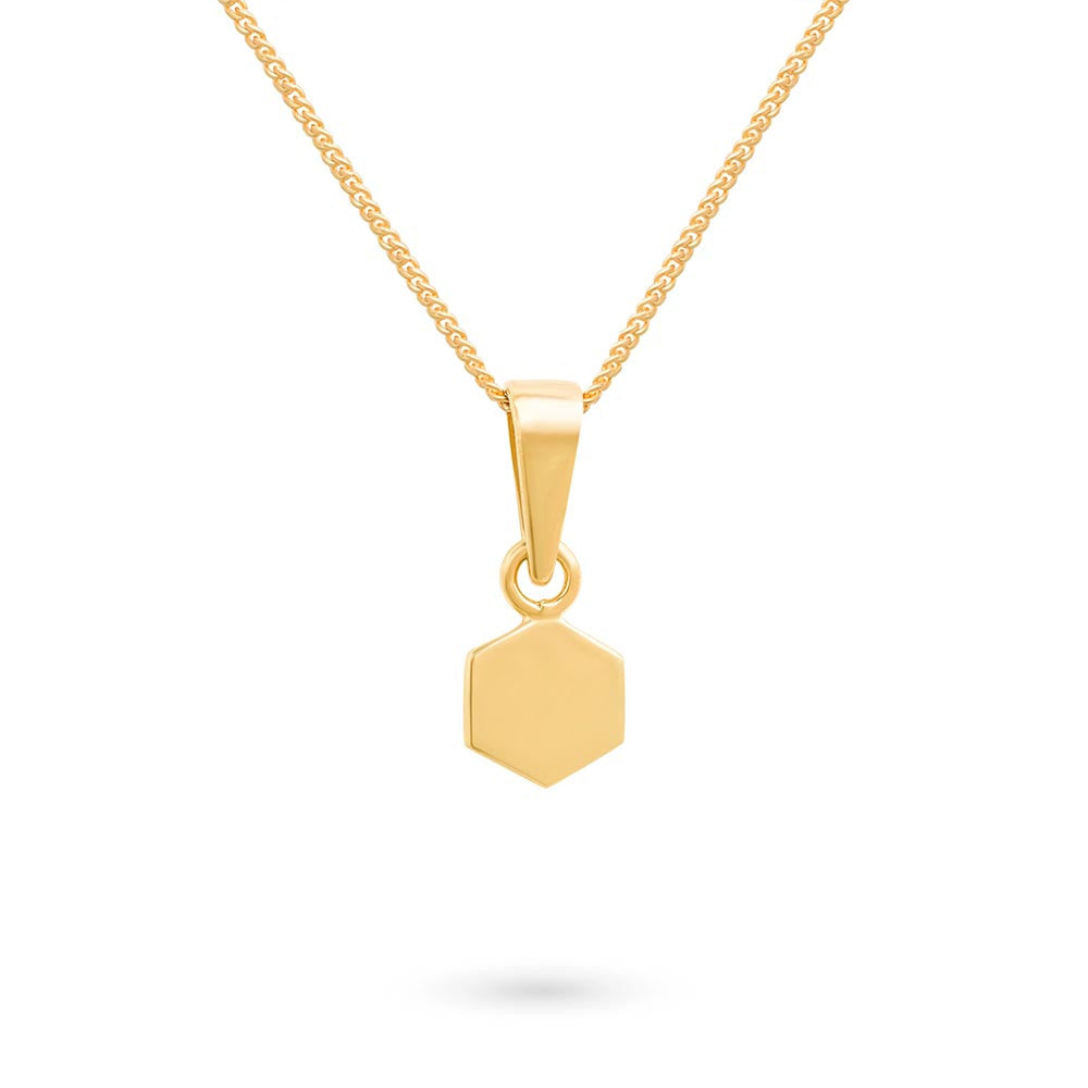 Gold Tiny Hexagon Charm Pendant