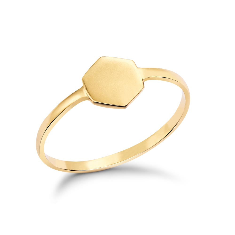 Gold Tiny Hexagon Ring