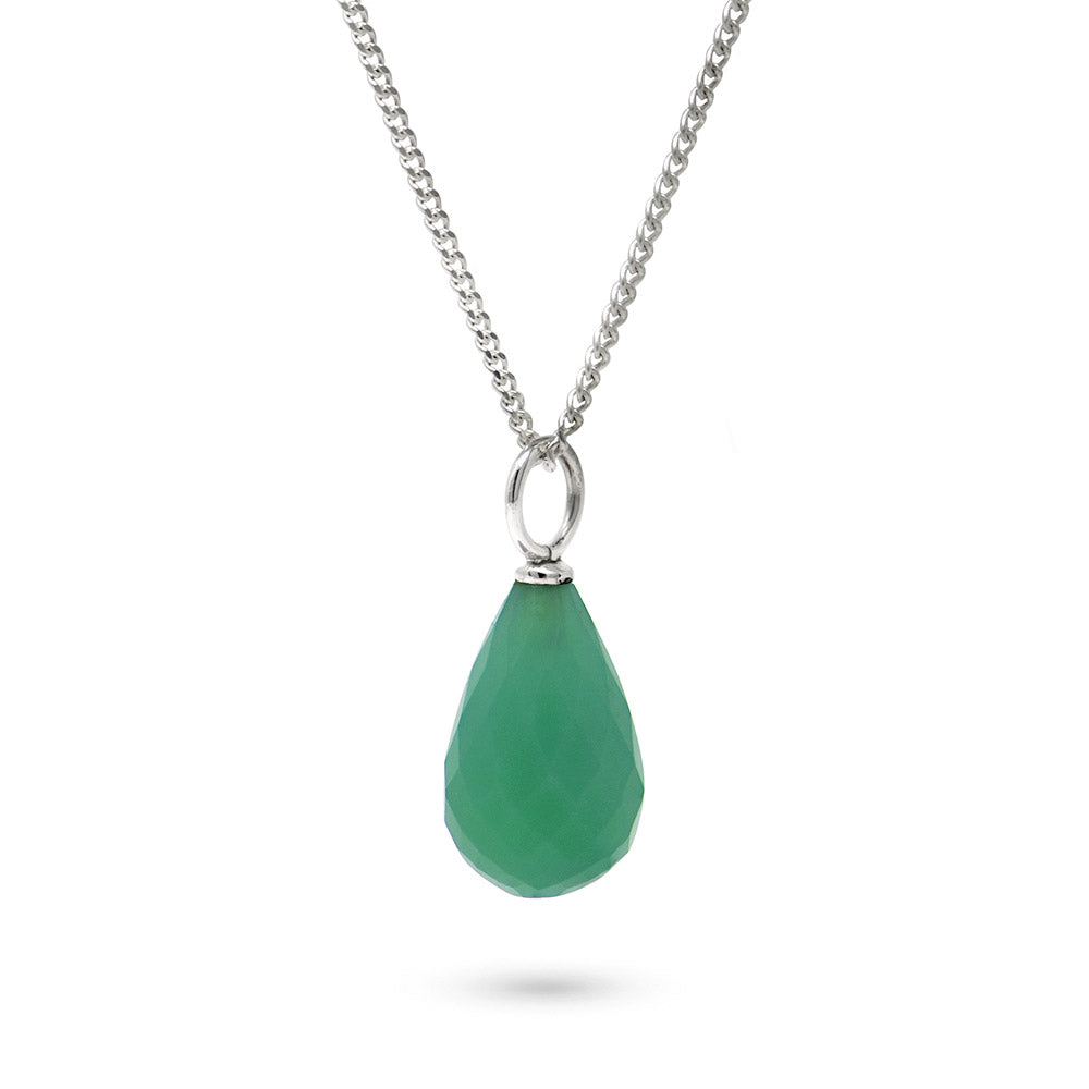 Chrysoprase May Birthstone Pendant Necklace