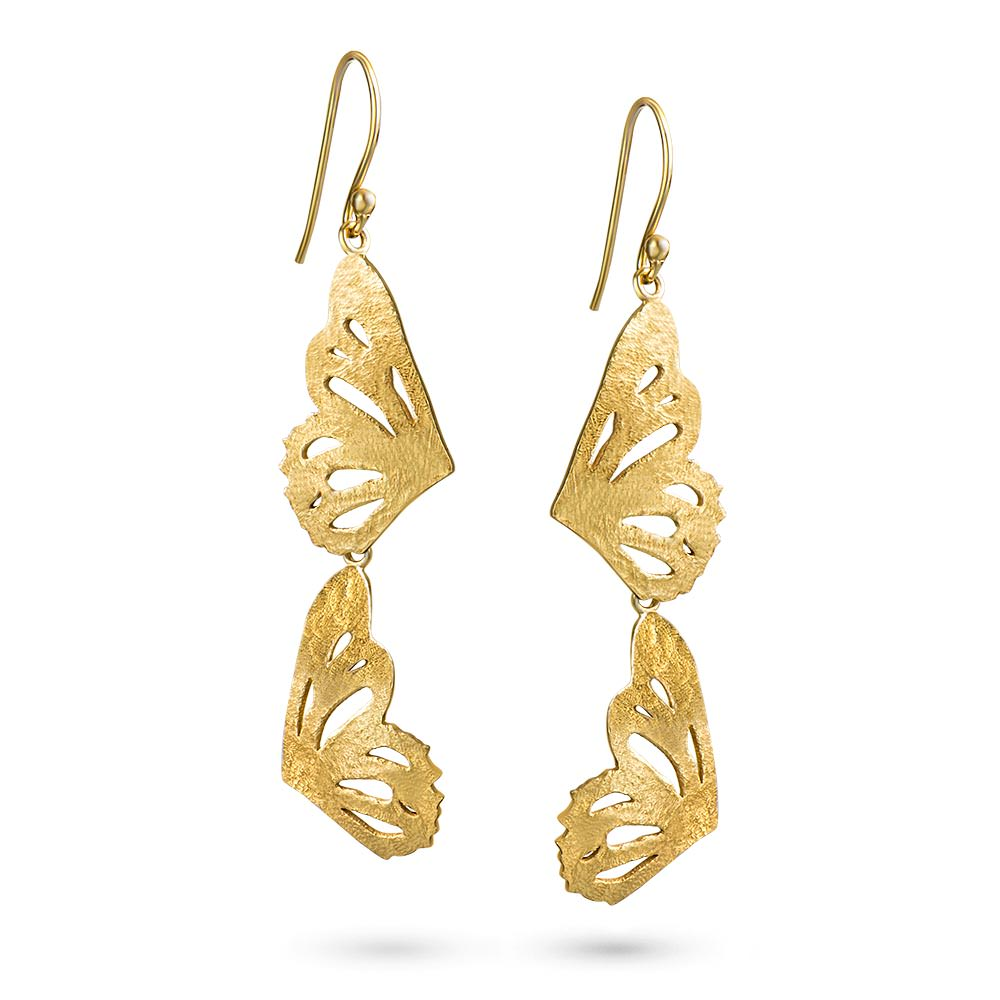 Gold Butterfly Double Wing Earrings by Magpie's Loot