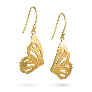 Gold Butterfly Single Wing Earrings by Magpie's Loot