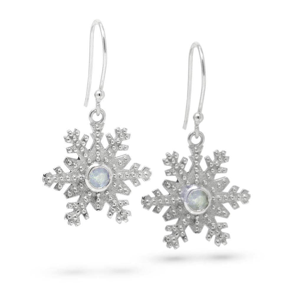 Snowflake Drop Earrings with Moonstone in Sterling Silver by Magpie's Loot