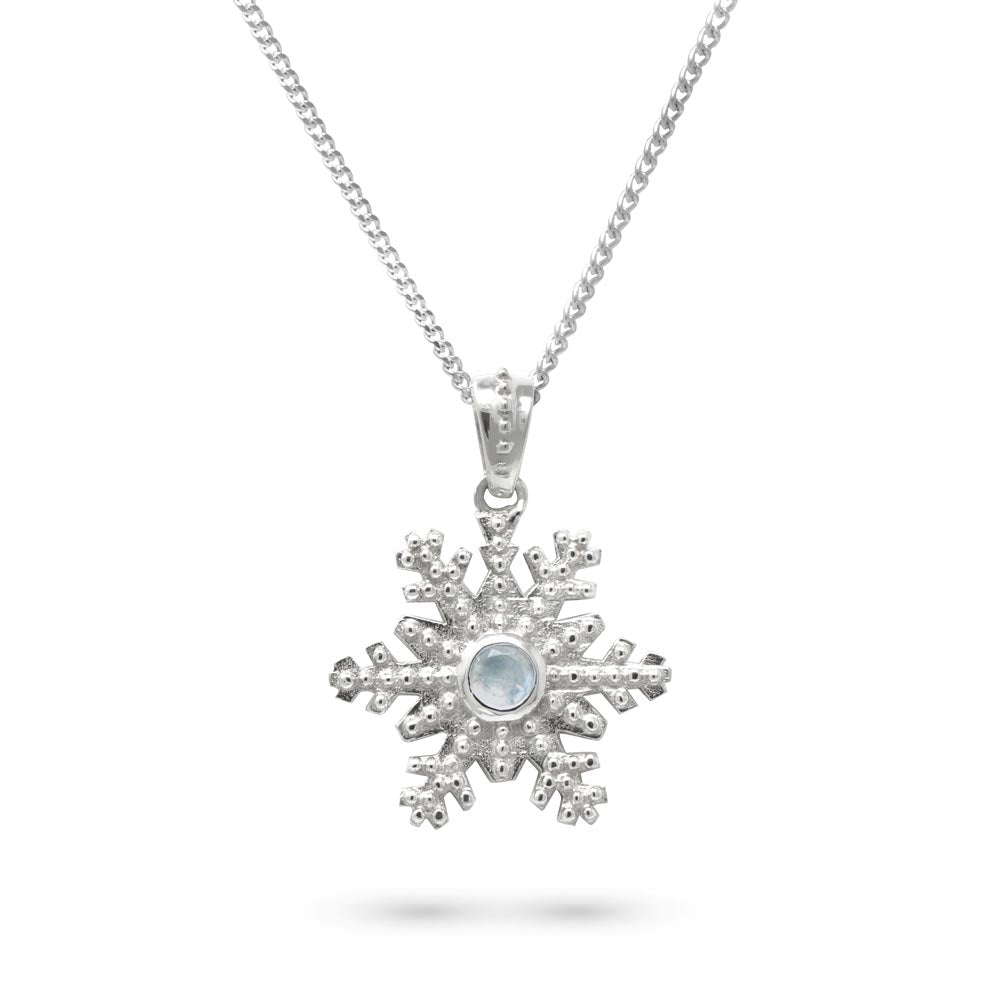 Snowflake Pendant with Moonstone in Sterling Silver by Magpie's Loot