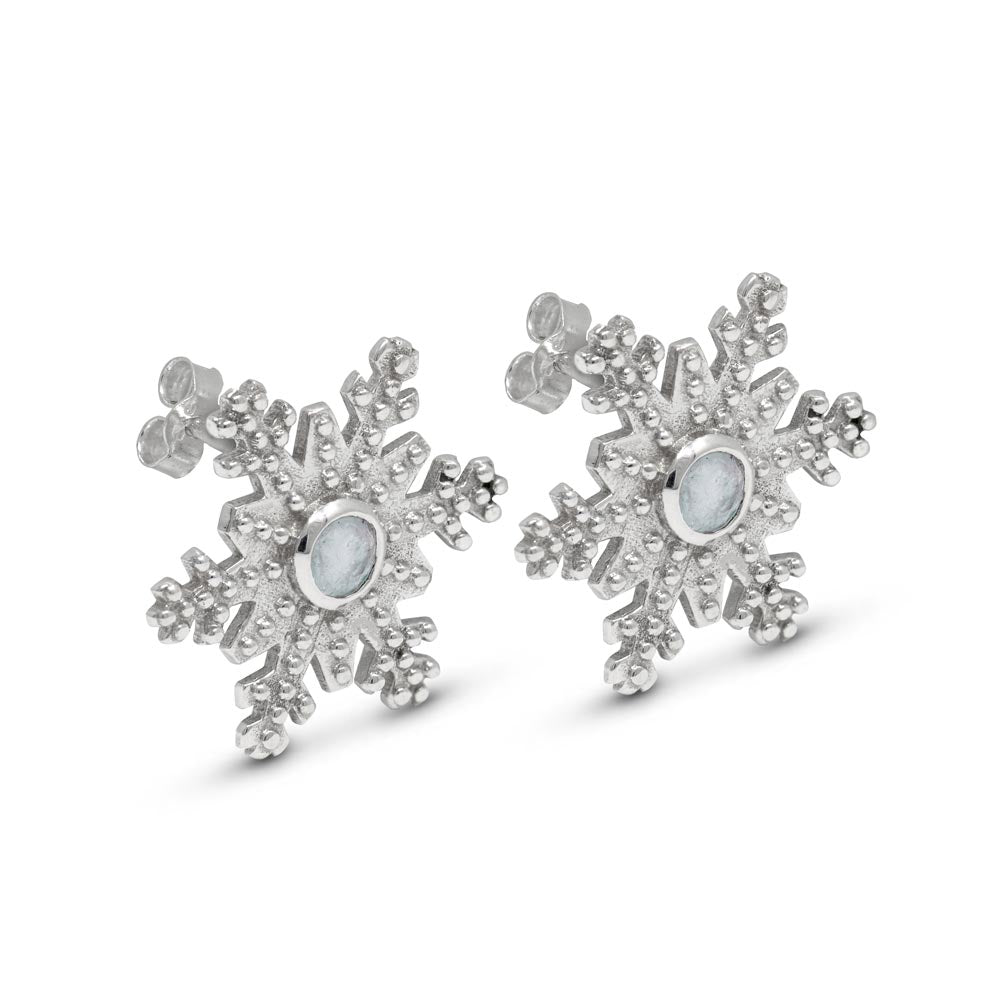 Snowflake Stud Earrings with Moonstone in Sterling Silver by Magpie's Loot