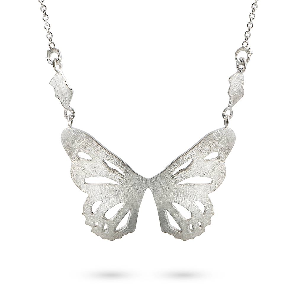 Silver Butterfly Pendant by Magpie's Loot