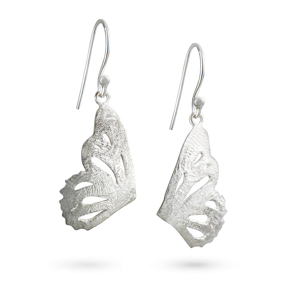 Silver Butterfly Single Wing Earrings by Magpie's Loot
