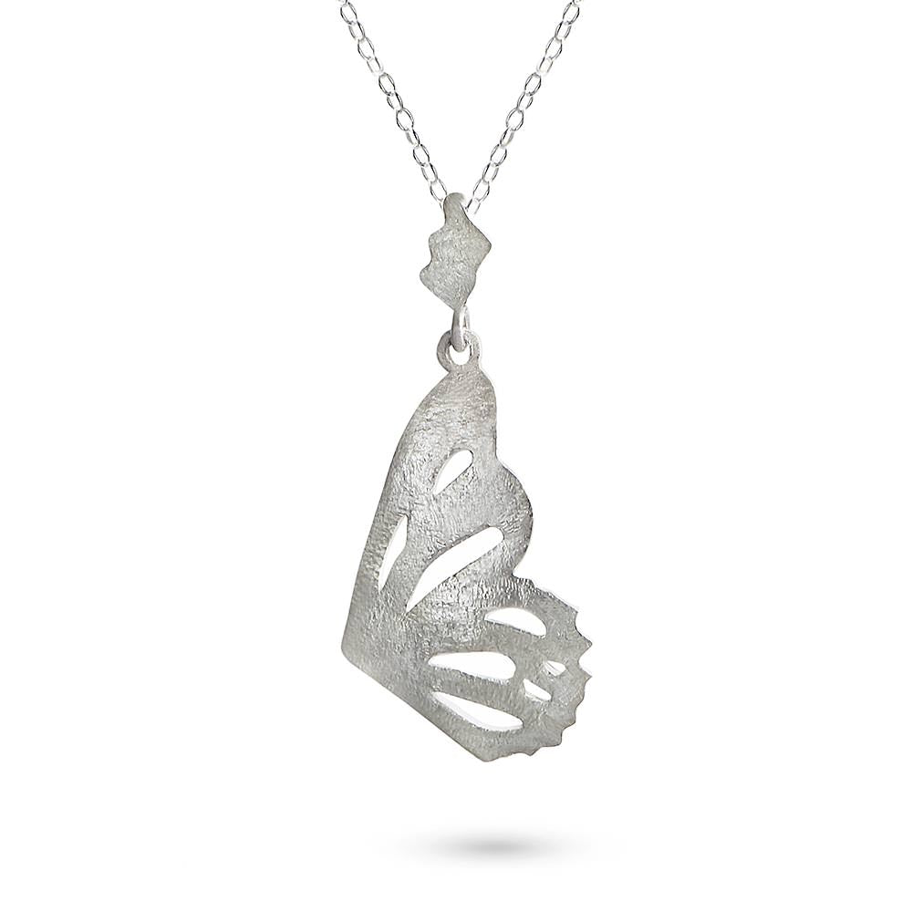 Silver Butterfly Single Wing Pendant by Magpie's Loot