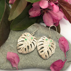 Exotic Monstera Earrings with Green Zirconia