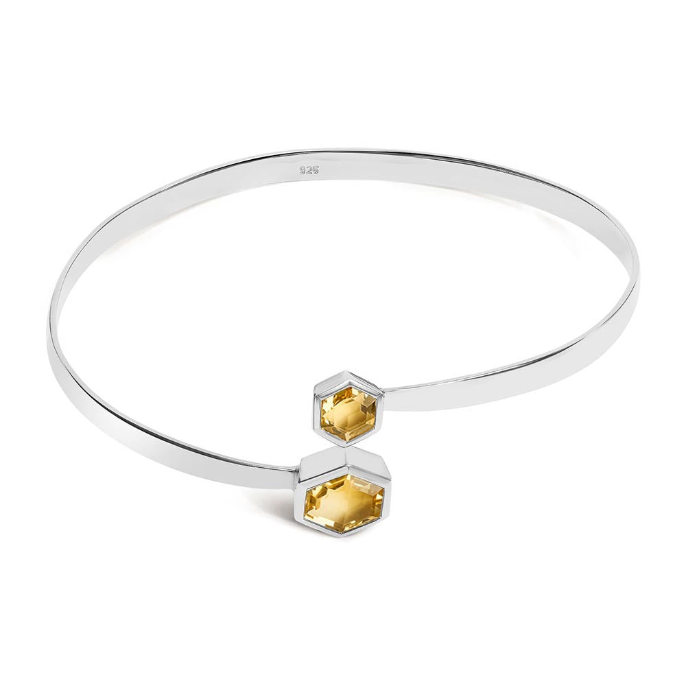 Silver Bangle with Double Faceted Honey Quartz