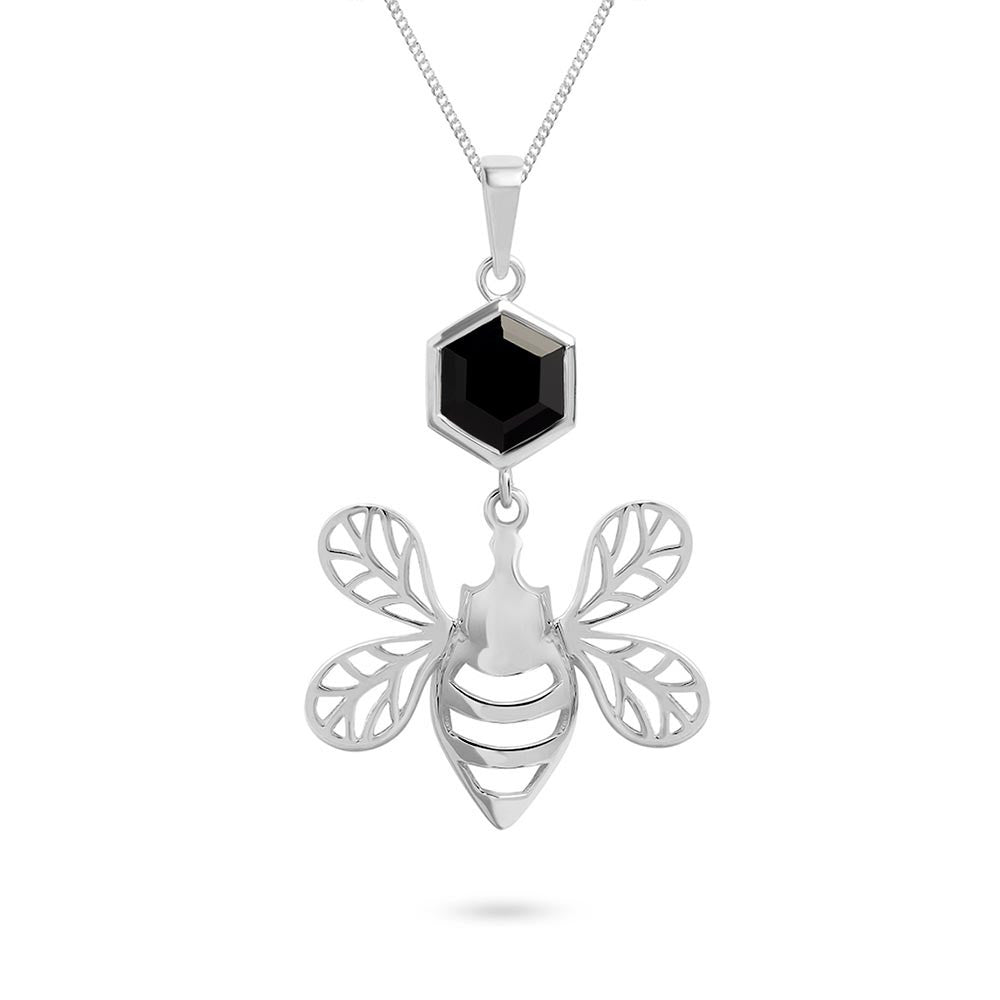 Silver Bee Pendant with Faceted Black Onyx