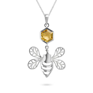 Silver Bee Pendant with Faceted Honey Quartz