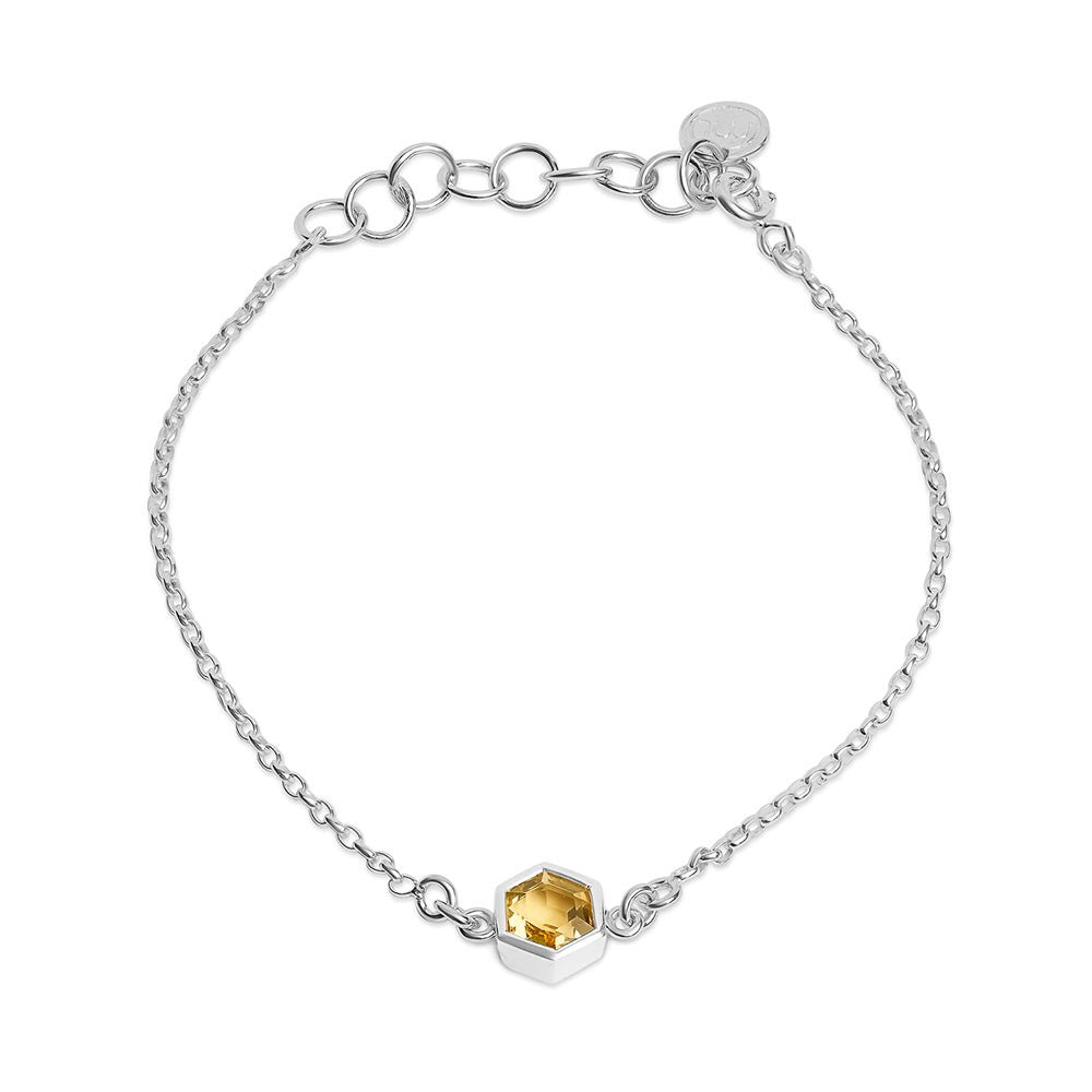 Silver Bracelet with 6mm Faceted Honey Quartz