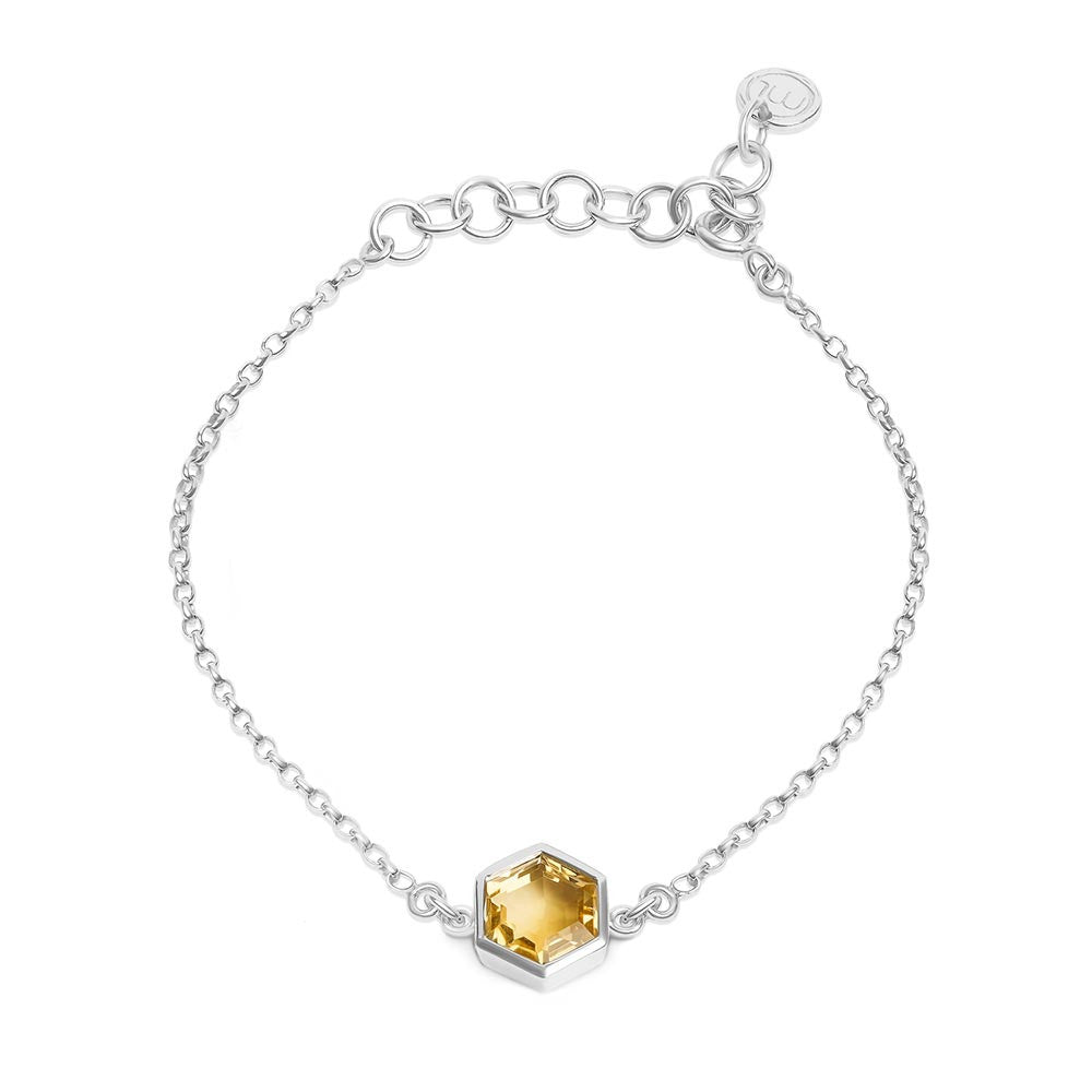 Silver Bracelet with 8mm Faceted Honey Quartz