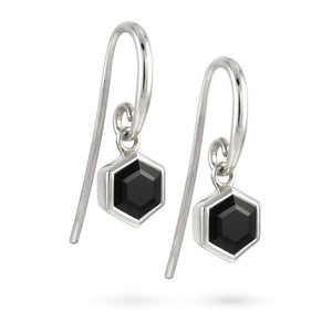 Silver Hexagon Earrings with 6mm Faceted Black Onyx