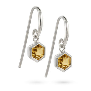Silver Hexagon Earrings with 6mm Faceted Honey Quartz
