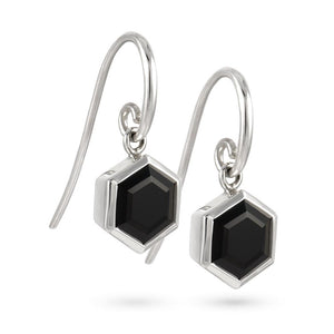 Silver Hexagon Earrings with 8mm Faceted Black Onyx