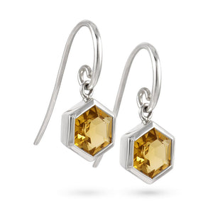 Silver Hexagon Earrings with 8mm Faceted Honey Quartz