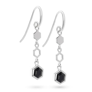 Silver Hexagon Long Earrings with Faceted Black Onyx