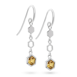 Silver Hexagon Long Earrings with Faceted Honey Quartz