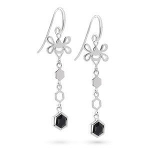Silver Hexagon Long Earrings with Tiny Bee and Faceted Black Onyx