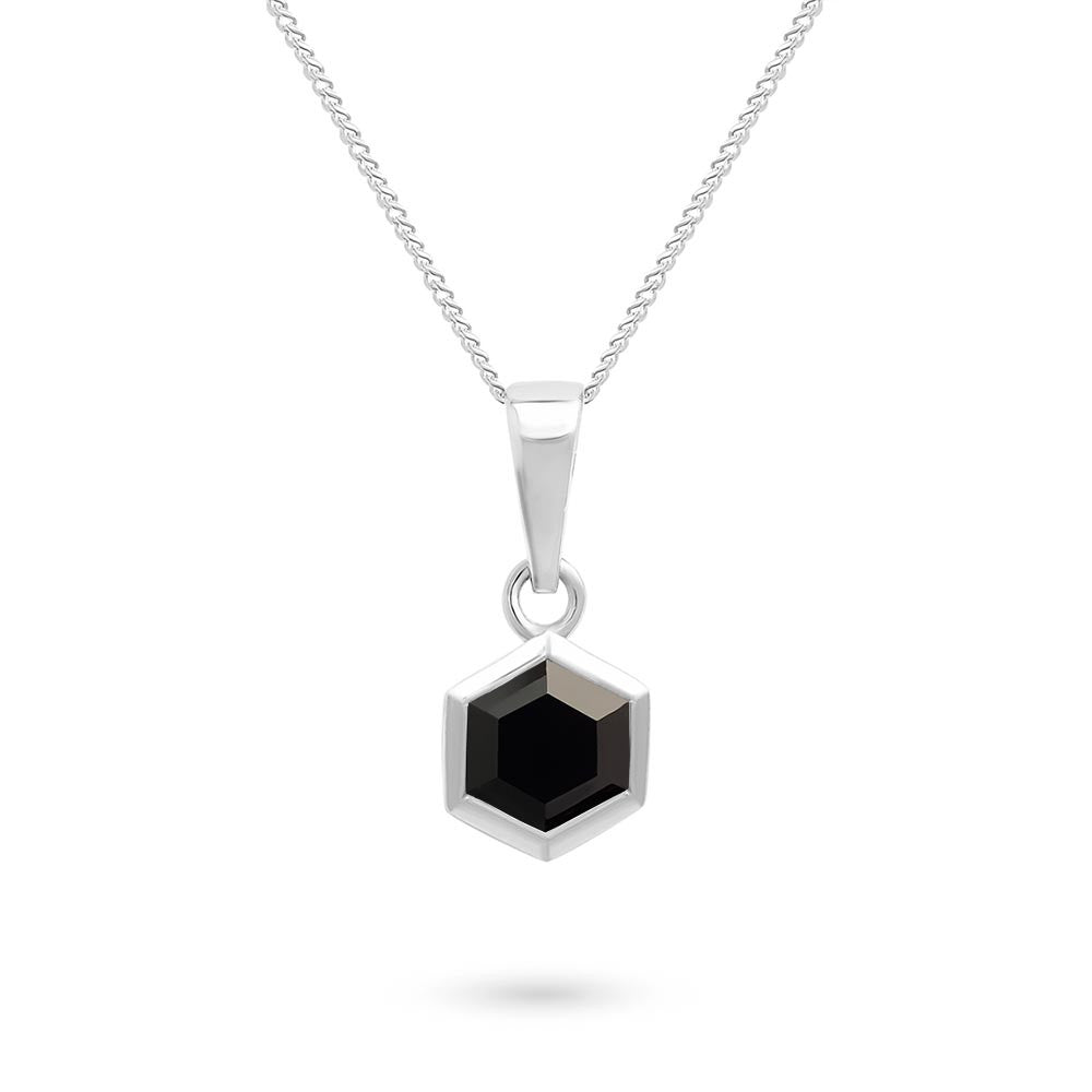 Silver Hexagon Pendant with 6mm Faceted Black Onyx