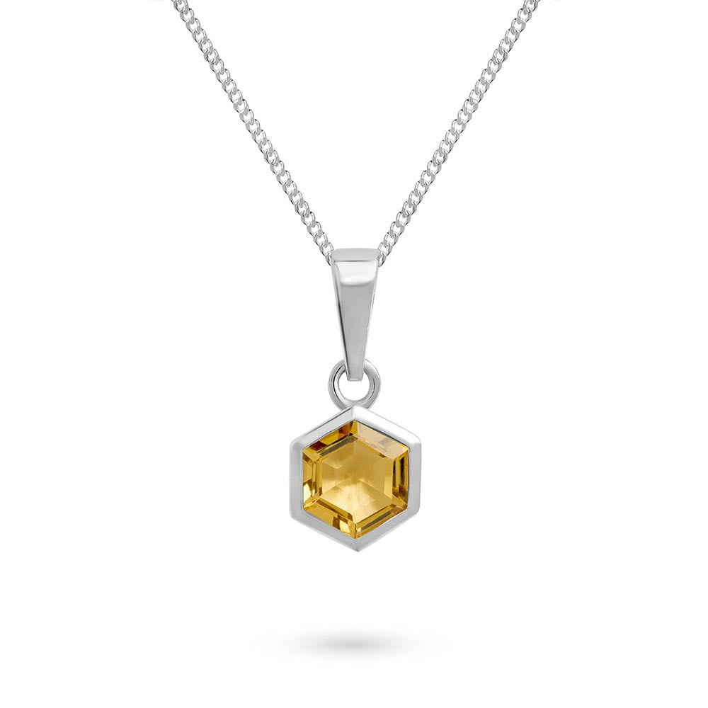 Silver Hexagon Pendant with 6mm Faceted Honey Quartz