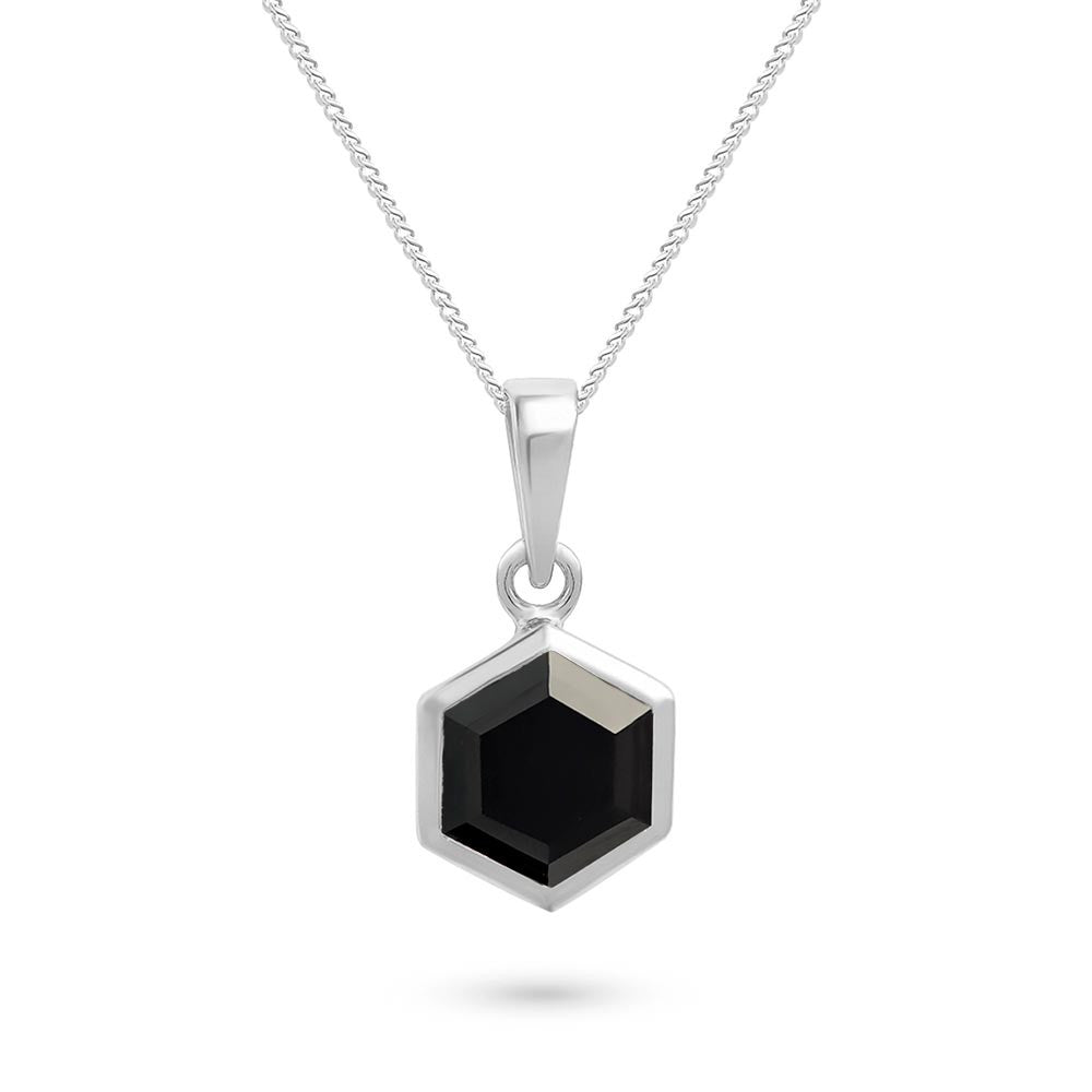 Silver Hexagon Pendant with 8mm Faceted Black Onyx