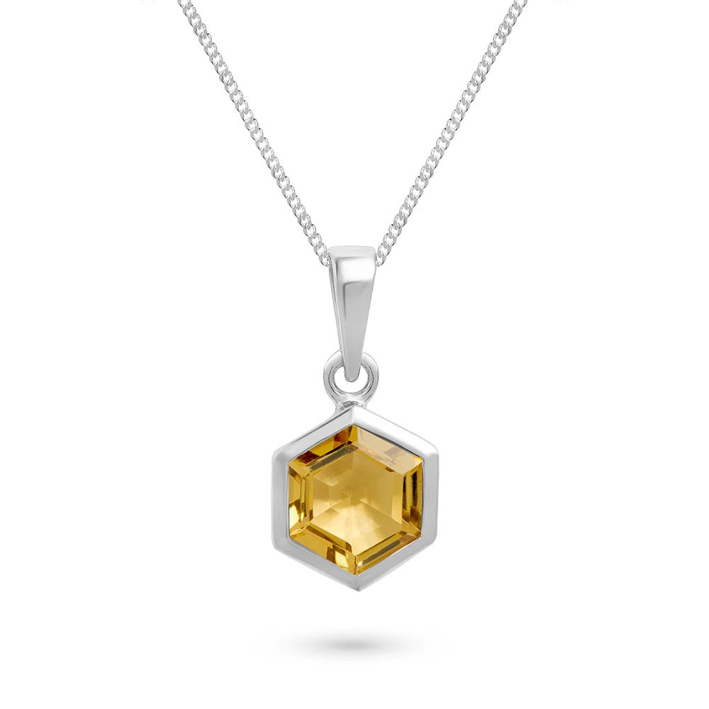 Silver Hexagon Pendant with 8mm Faceted Honey Quartz