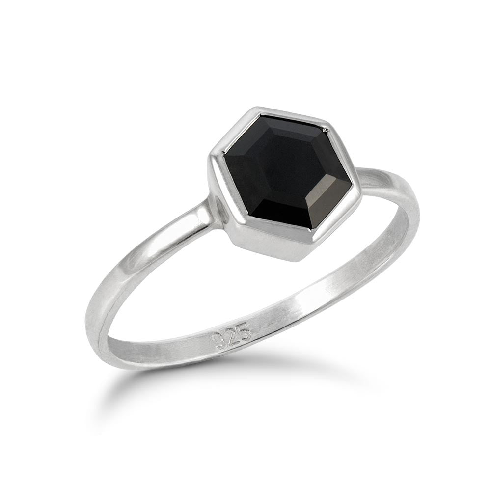Silver Hexagon Ring with 6mm Faceted Black Onyx