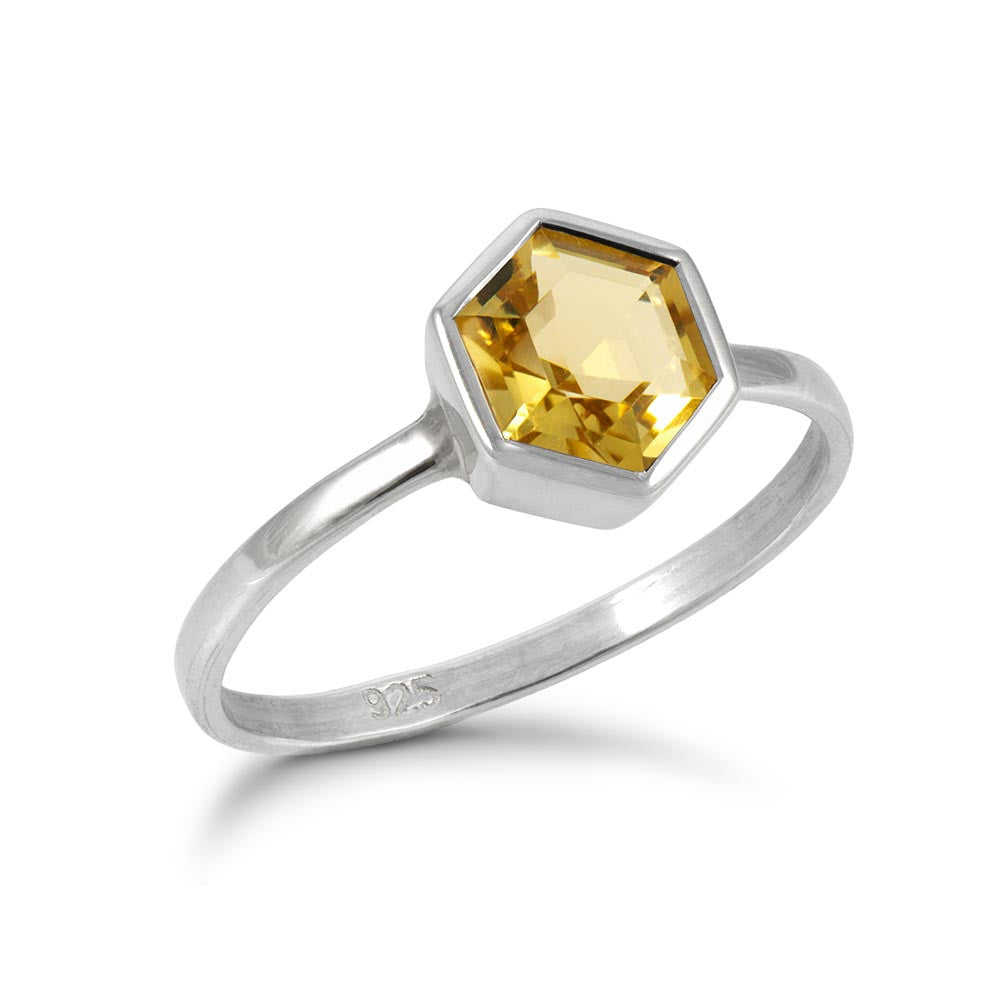 Silver Hexagon Ring with 6mm Faceted Honey Quartz