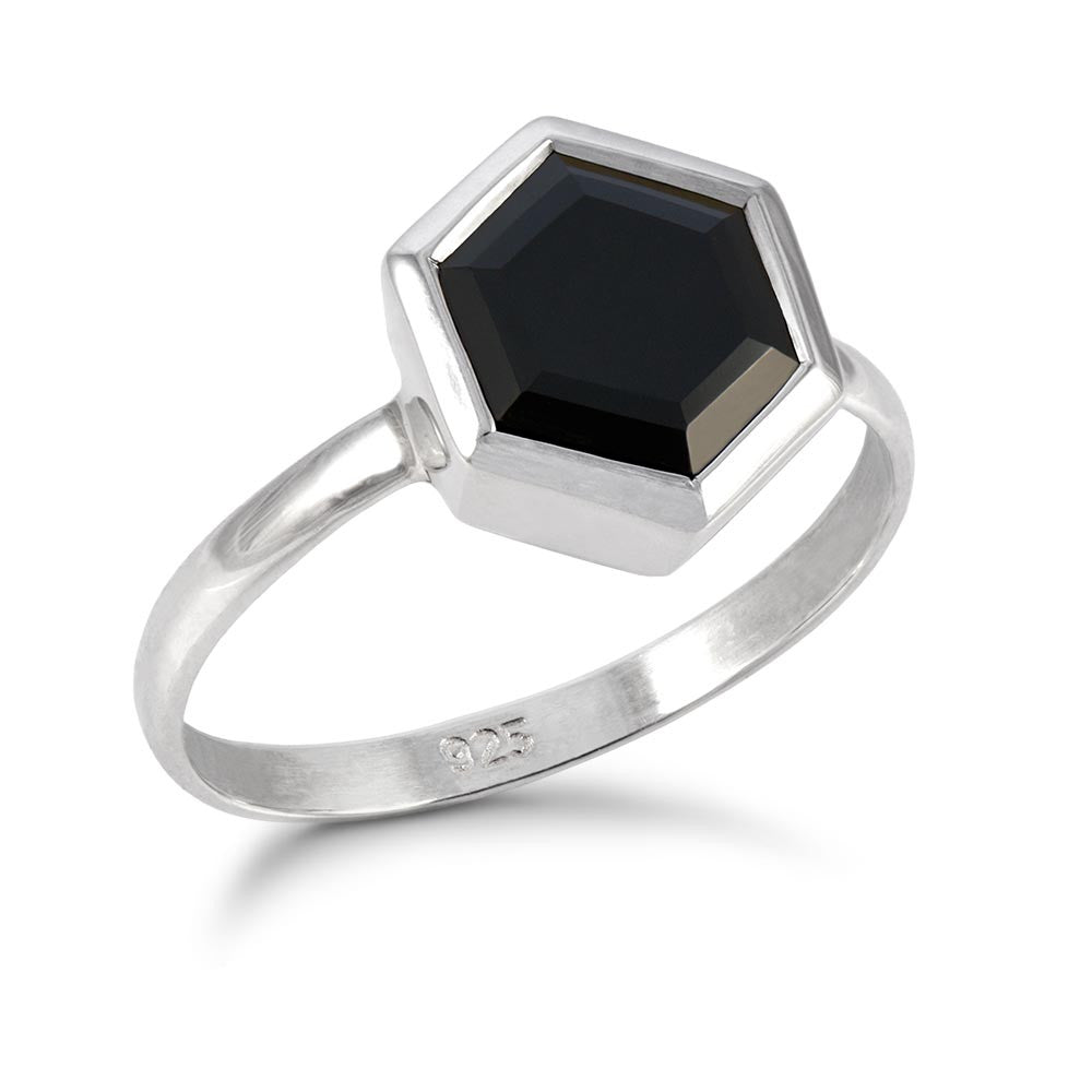 Silver Hexagon Ring with 8mm Faceted Black Onyx