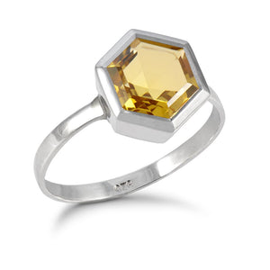 Silver Hexagon Ring with 8mm Faceted Honey Quartz