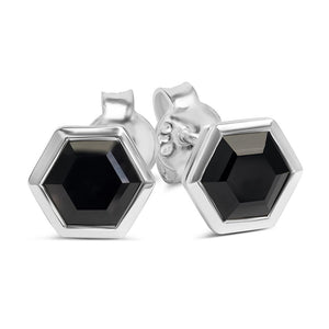 Silver Hexagon Stud Earrings with Faceted Black Onyx