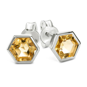 Silver Hexagon Stud Earrings with Faceted Honey Quartz