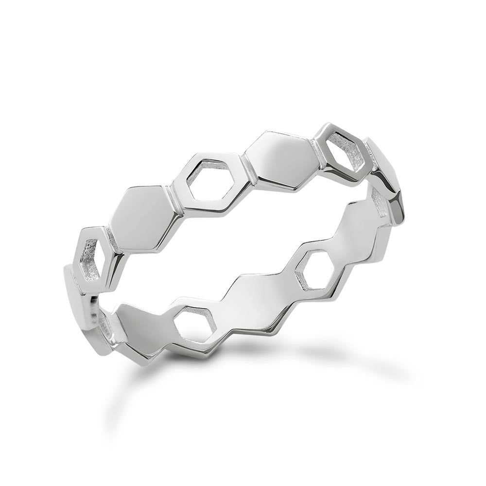 Silver Honeycomb Stacking Ring Alternativo Design