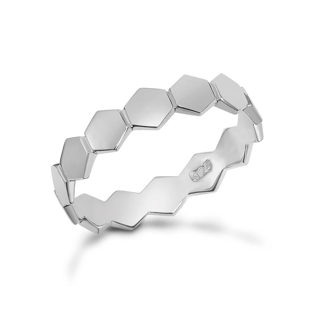 Silver Honeycomb Stacking Ring Full Design