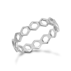 Silver Honeycomb Stacking Ring Hollow Design