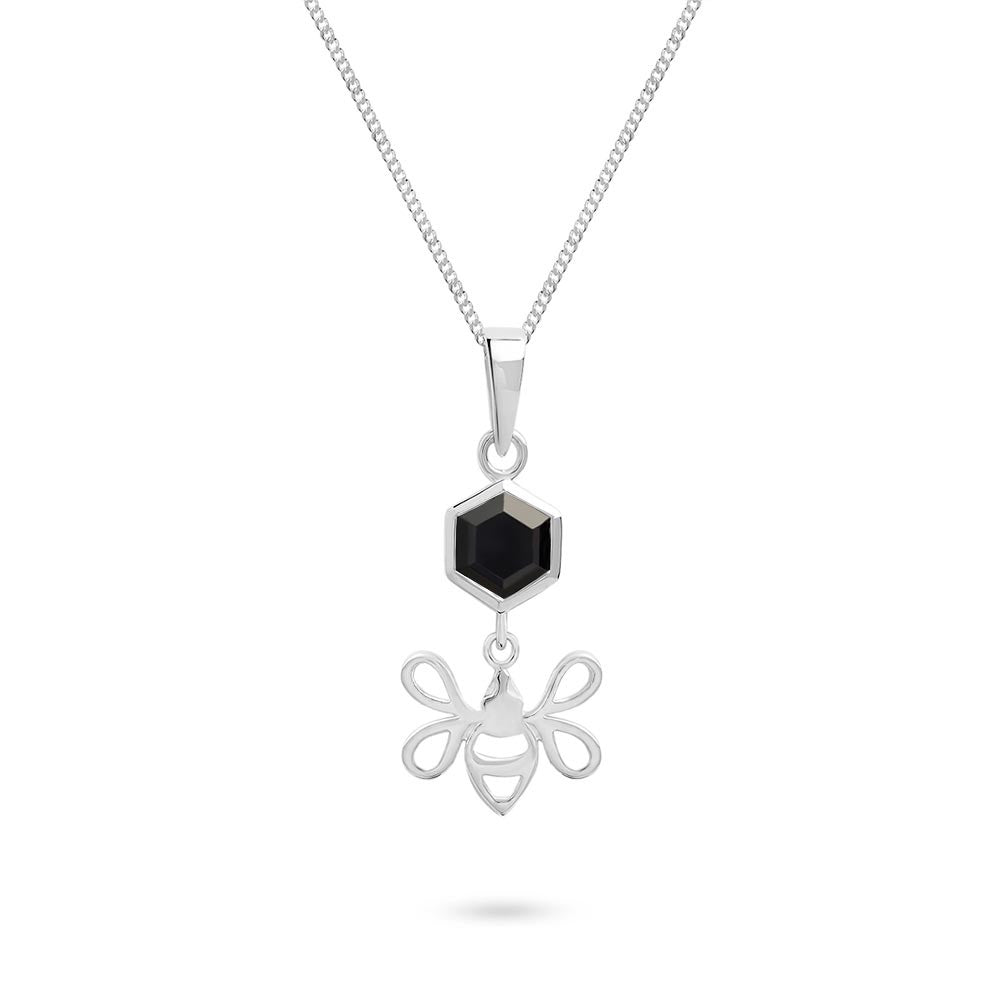 Silver Tiny Bee Charm with Faceted Black Onyx Pendant