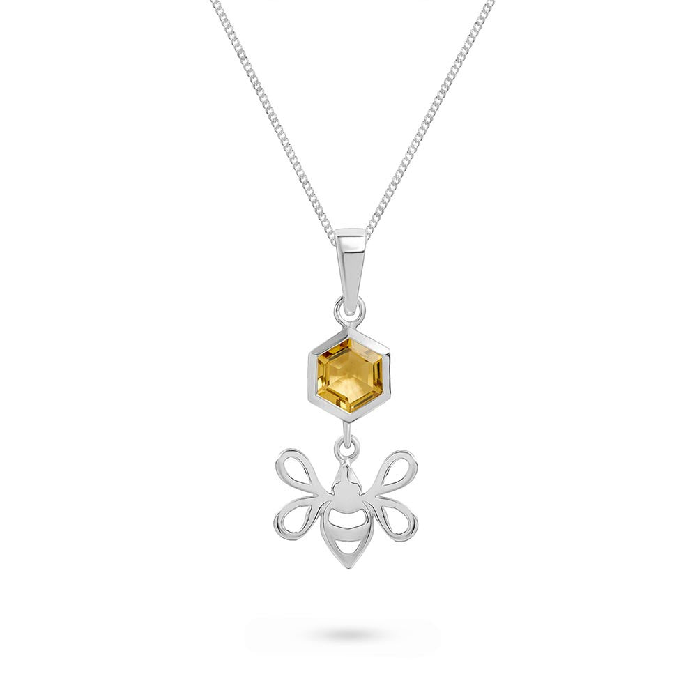 Silver Tiny Bee Charm with Faceted Honey Quartz Pendant