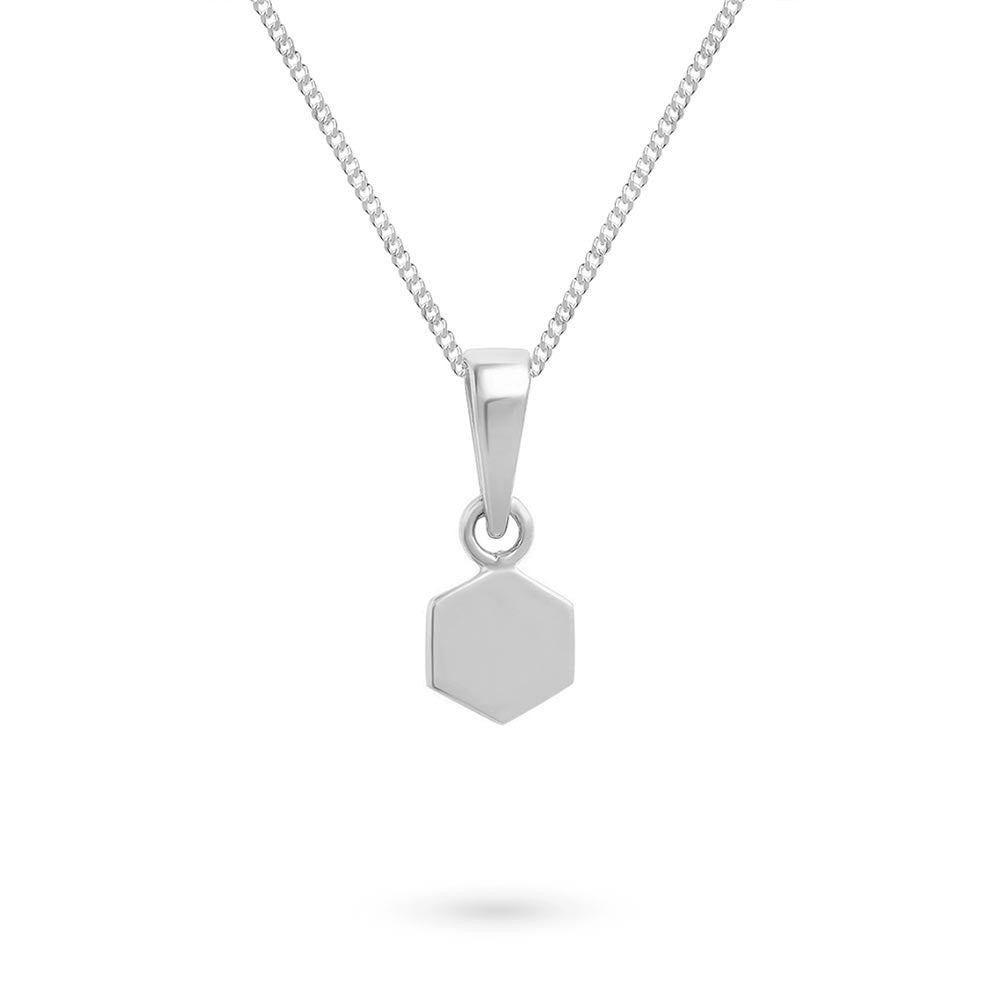 Silver Tiny Hexagon Charm Pendant