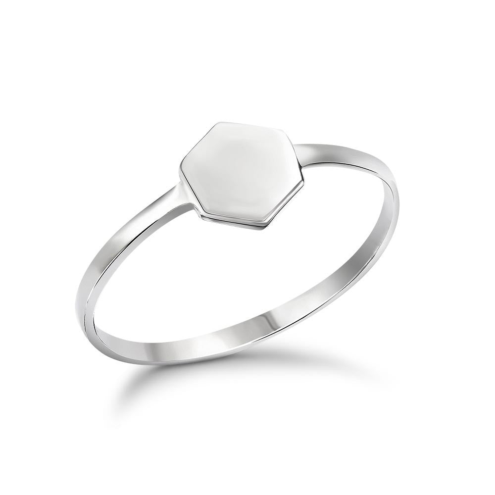 Silver Tiny Hexagon Ring