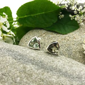 Exotic Green Amethyst Trillion Shape Studs