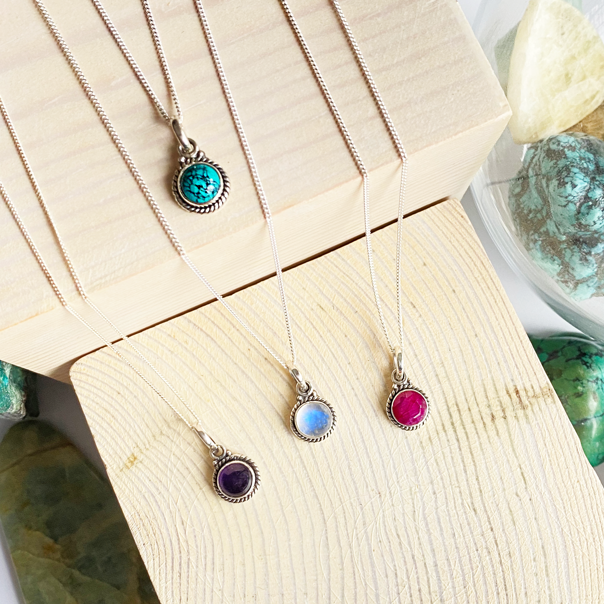 Tiny Round Silver Pendants with Gemstones