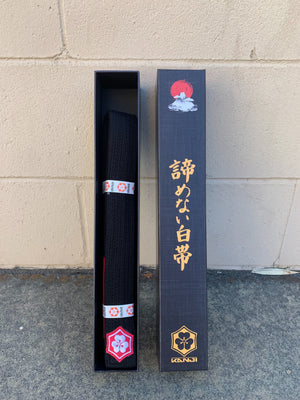 Kanji Premium Belt 'Kaze' - Black/Red
