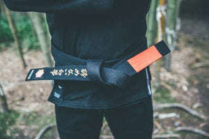 Kanji Limited Edition 'A White Belt Who Never Quit' Belt - Black/Red(Gold Embroidery)