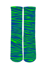 Blue & Green Tiger Stripe Socks
