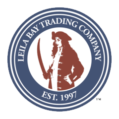 LOGO: Leila Bay Trading Company, Est. 1997; female pirate